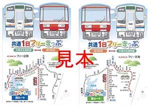 天浜線・遠鉄共通フリーきっぷ実物サンプル